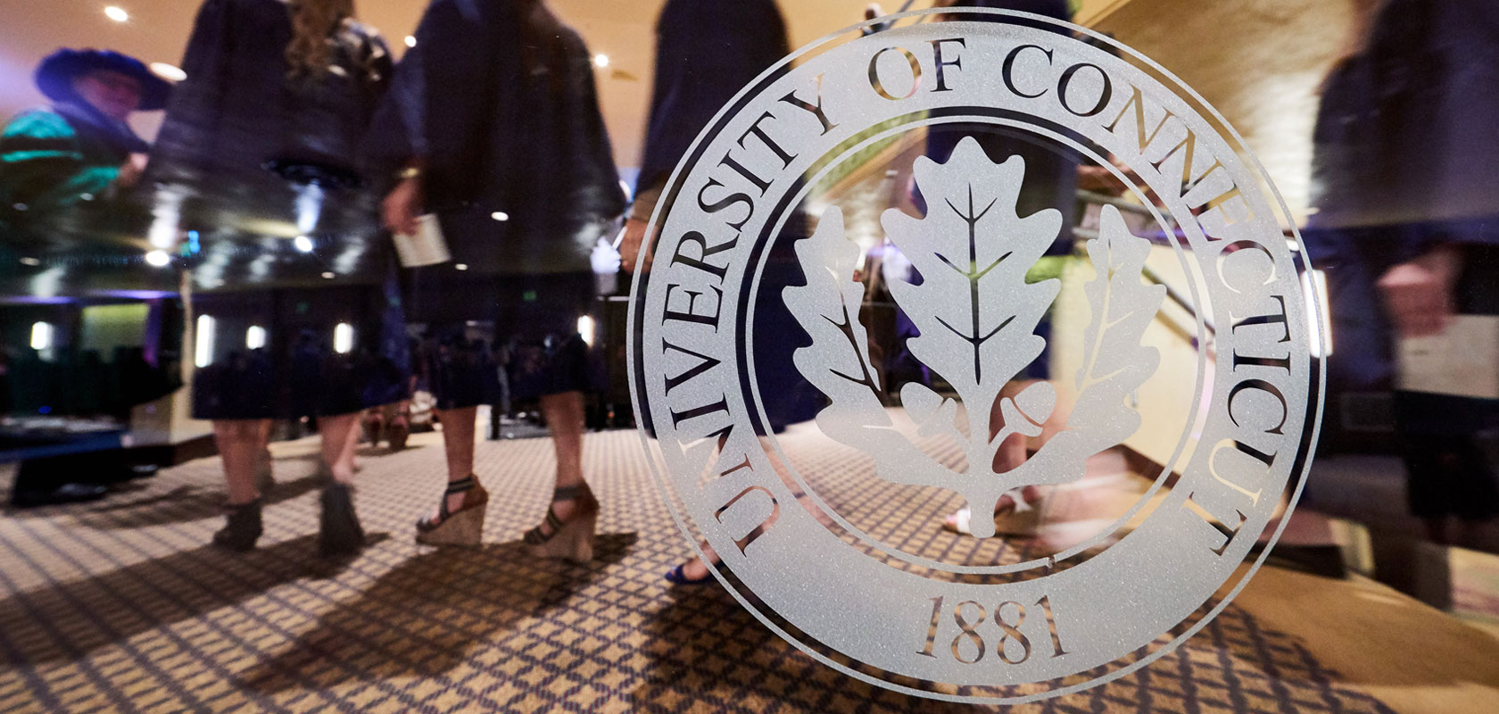 University of Connecticut seal at commencement
