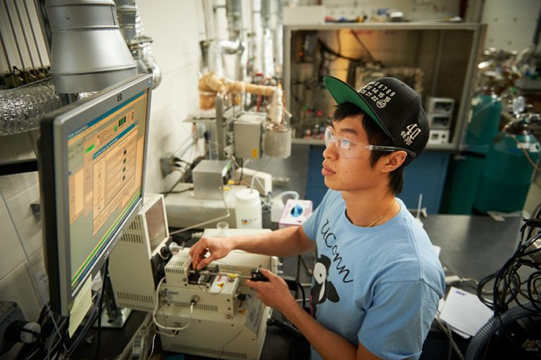 Students work in the lab at C2E2 - the center for clean energy engineering.
